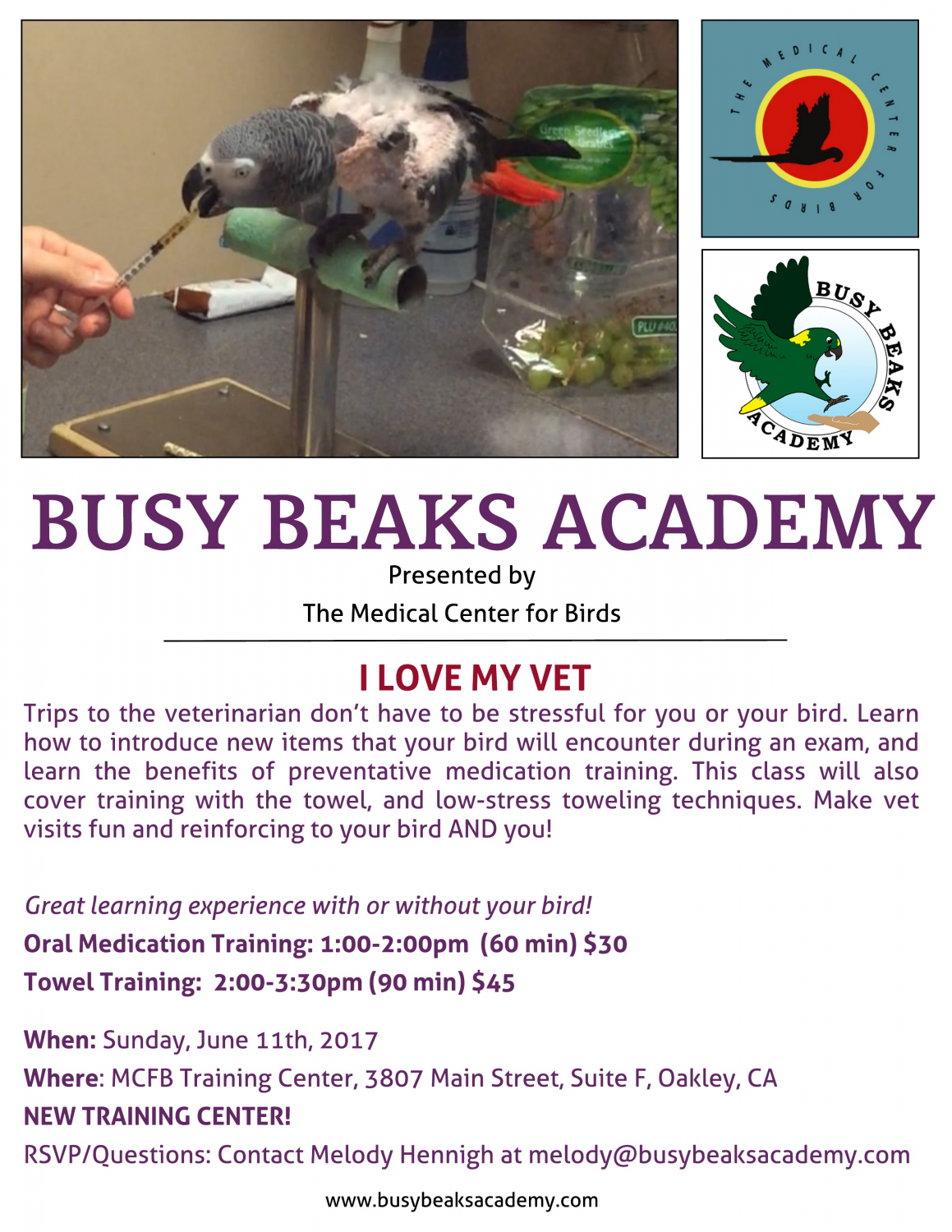 Medical Center For Birds - Busy Beaks Academy - I Love My Vet